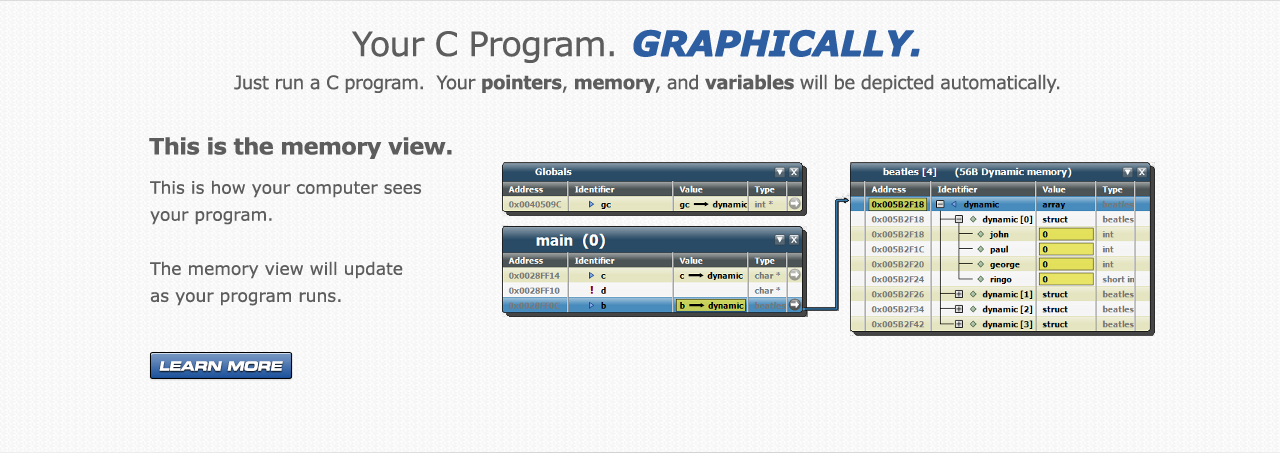 Tenacious C depicts your pointers, memory, and variables.  The memory view will update as your program runs